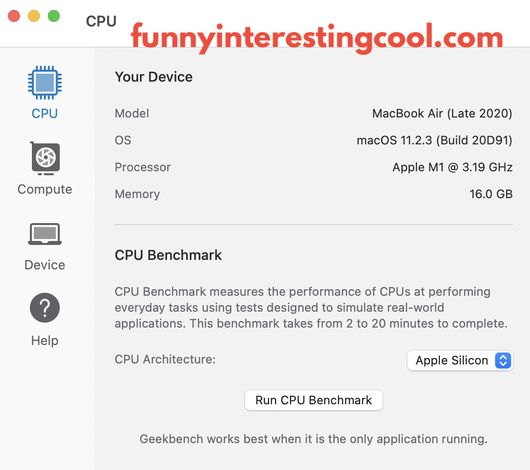Macbook Air Processor Speed M1 Geekbench